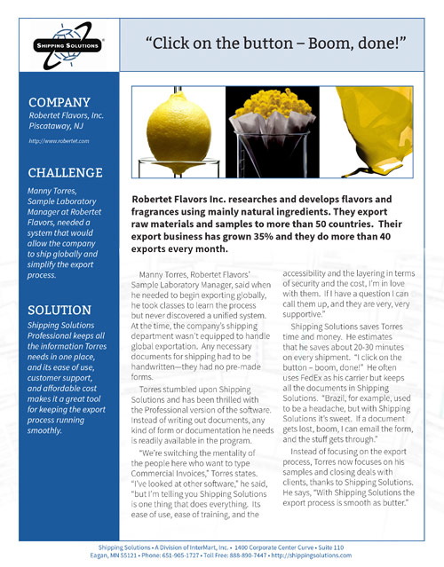 Export Document Software Case Study - Robertet Flavors, Inc.