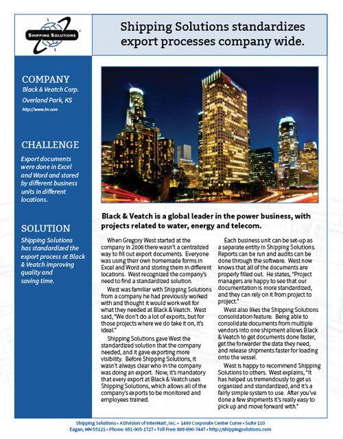 Export Document Software Case Study - Black and Veatch