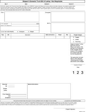 Inland Bill Of Lading  Bill Of Lading Samples