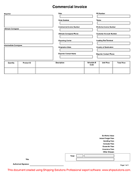 commercial invoice form - Invoice Form