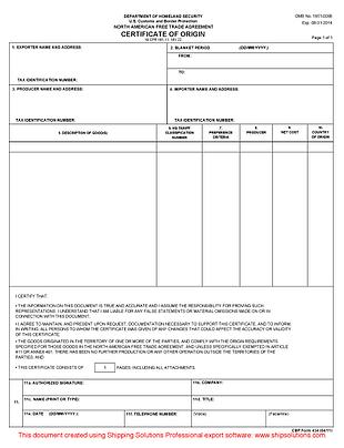 NAFTA Certificate of Origin (English)
