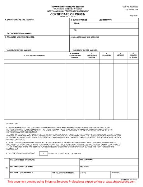 NAFTA Certificate Of Origin Form