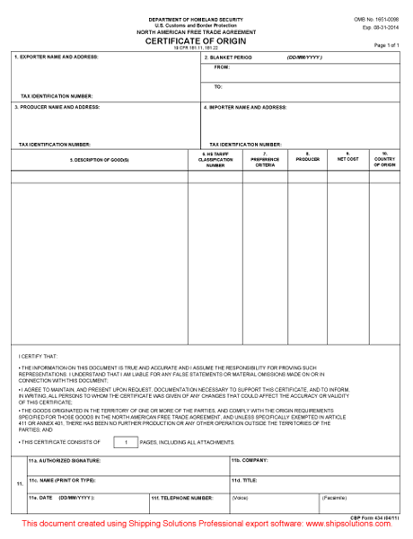 picture relating to Printable Nafta Form called Certification of Origin Down load - Cost-free