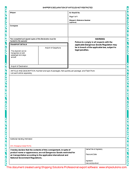 Non-Dangerous Goods Form