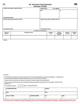 korea free trade agreement form - Generic Certificate Of Origin Template