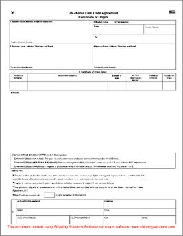 korea free trade agreement form - Certificate Of Origin Template