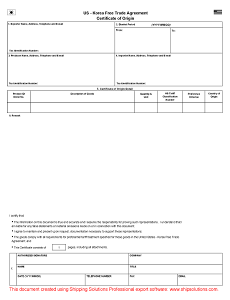 photograph about Printable Nafta Form named Certification of Origin Down load - Absolutely free