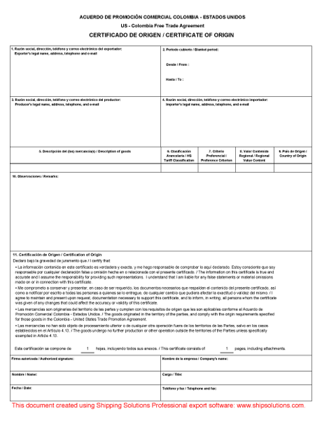 Colombia Free Trade Agreement Form