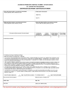 Certificate of origin download free us colombia certificate of origin yadclub Image collections