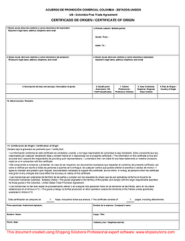 colombia free trade agreement form - Generic Certificate Of Origin Template