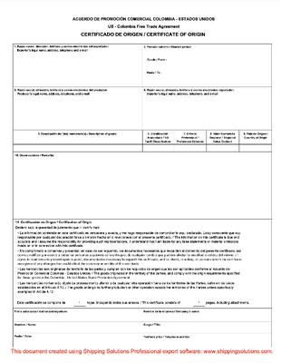 Us Colombia Certificate Of Origin