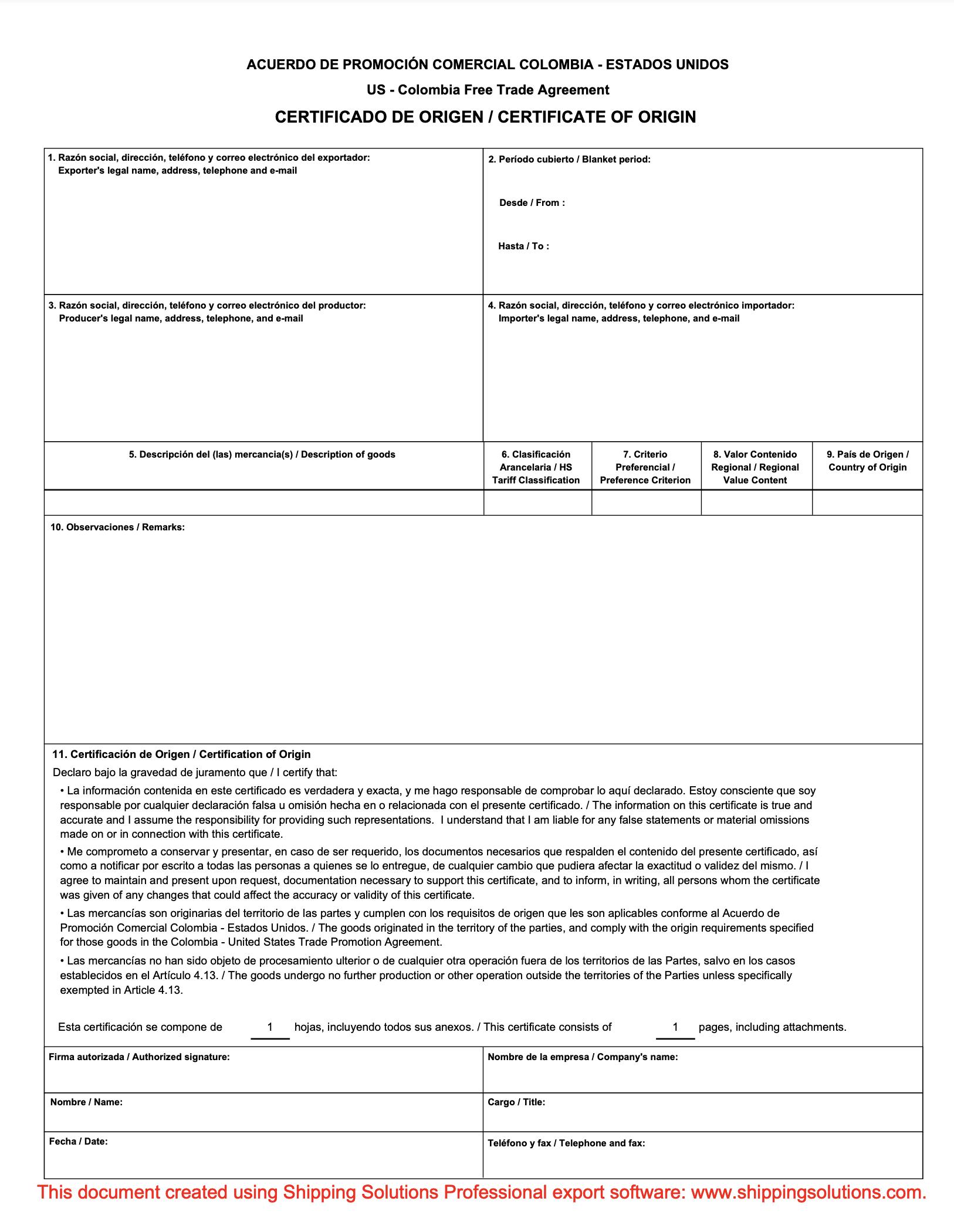 photo regarding Printable Nafta Form named Certification of Origin Down load - Absolutely free