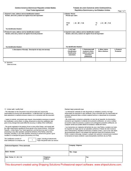 CAFTA Certificate Of Origin Form  Certificate Of Origin Sample