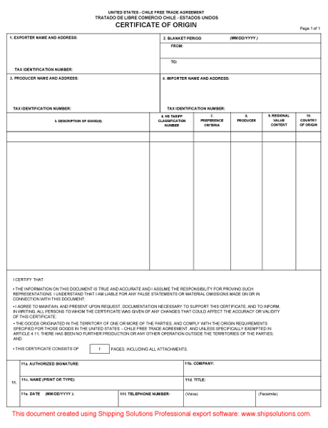 Chile Free Trade Agreement Form