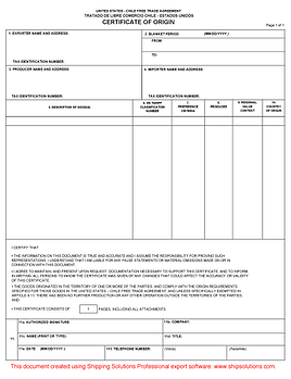 chile free trade agreement form - Certificate Of Origin Template
