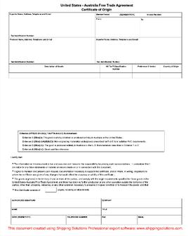 us australia certificate of origin - Certificate Of Origin Template