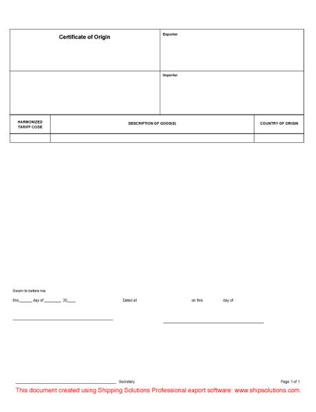 certificate of origin form word format