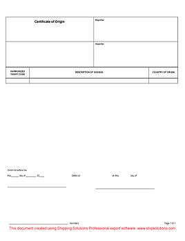 Certificate of Origin Download - Free