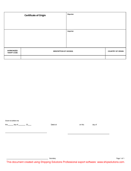 Generic Certificate Of Origin Form  Blank Certificate Of Origin Form