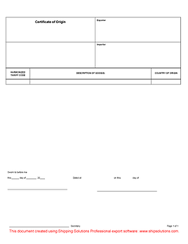 Generic Certificate of Origin Form
