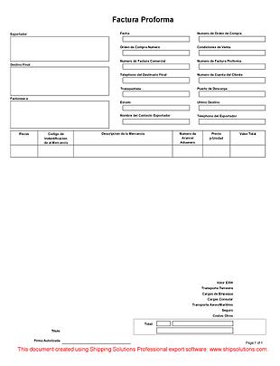 Proforma Invoice (Spanish)