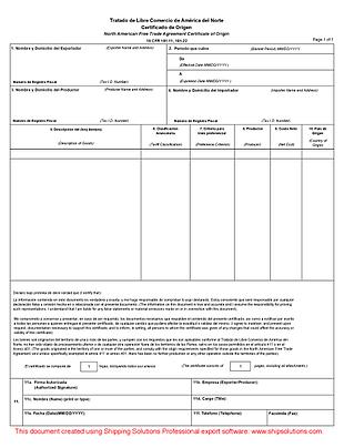 Nafta Certificate Of Origin Spanish
