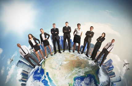 People_standing_on_Globe_with_building_background