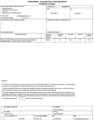 Australia Certificate of Origin