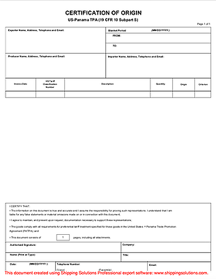 U.S. – Panama Certificate of Origin - Shipping Solutions
