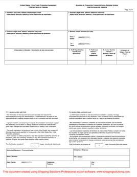 U.S.–Peru Certificate of Origin - Shipping Solutions