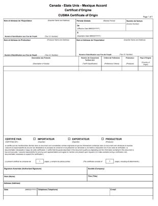 CUSMA Certificate of Origin - French