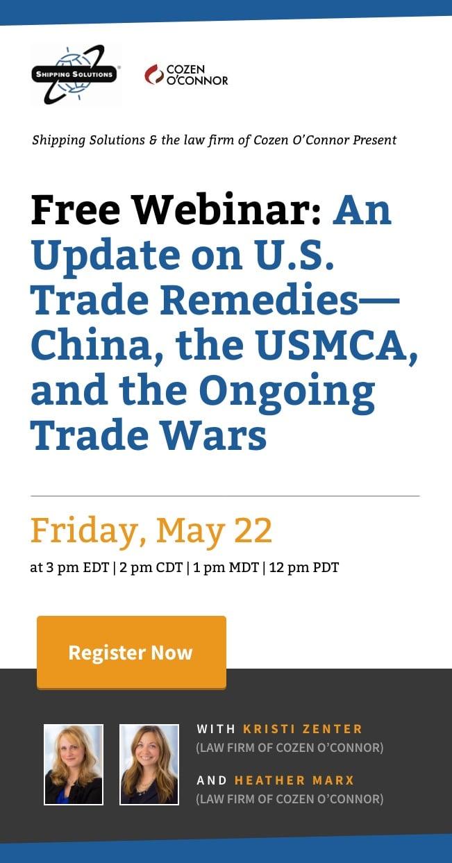 Webinar - An Update on U.S. Trade Remedies - May 22, 2020