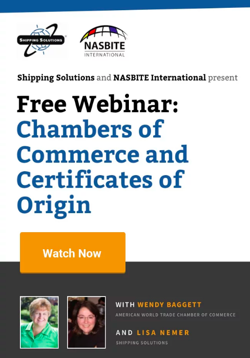 Webinar - Chambers of Commerce and Certificates of Origin