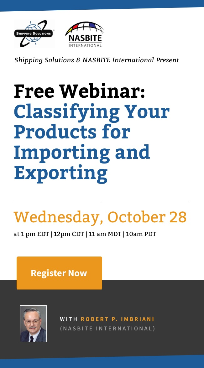 Webinar - Classifying Your Products for Importing and Exporting - Shipping Solutions