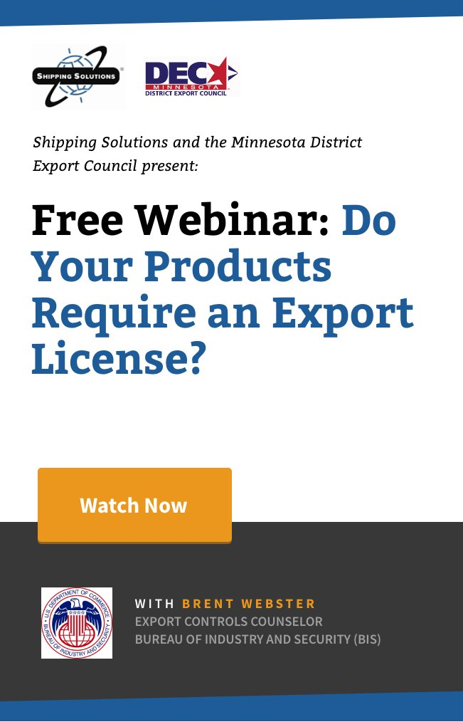 Webinar - Do You Products Require an Export License - Shipping Solutions