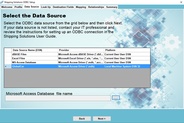 Select the Data Source | Shipping Solutions