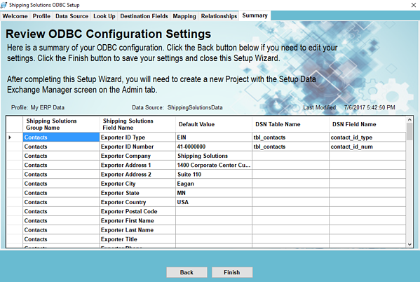 Review ODBC Configuration Settings | Shipping Solutions