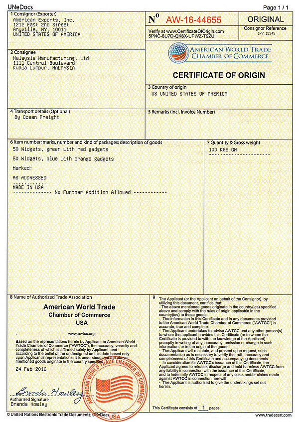 Electronic Certificate of Origin | Shipping Solutions