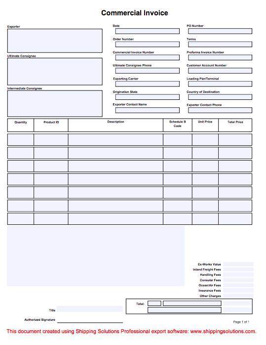 Commercial Invoice | Shipping Solutions