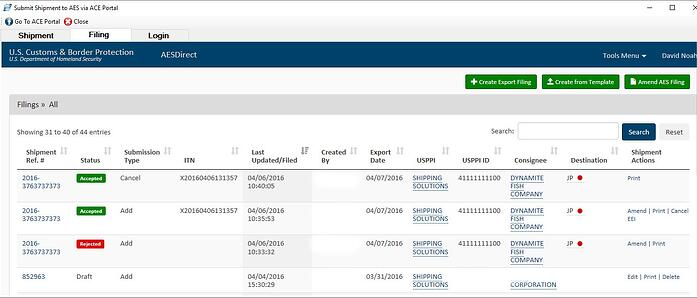 The AESDirect Shipment Summary Screen on the ACE Portal | Shipping Solutions