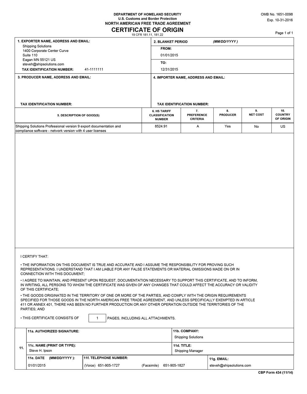 Nafta Certificate Of Origin Template. Sample Nafta Certificate Of Origin .  Nafta Certificate Of Origin Template  Example Certificate Of Origin