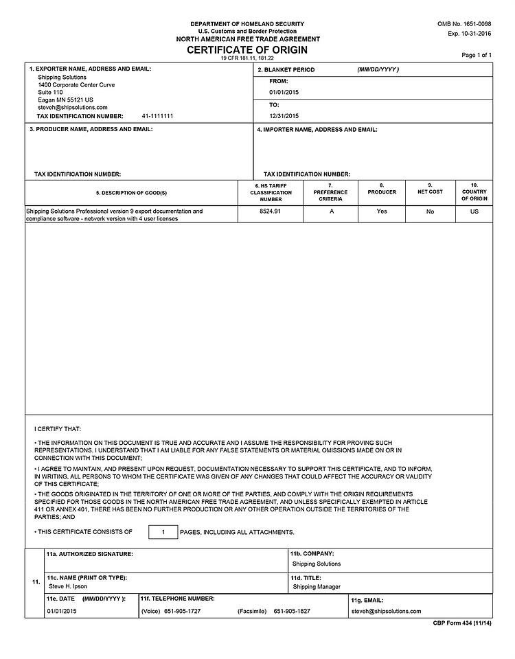 nafta sample certificate origin form