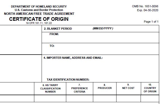 Get The Latest Nafta Certificate Of Origin